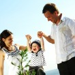 Happy family in sky — Stock Photo #6891383