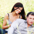 Lovers on grass field — Stock Photo #6892235