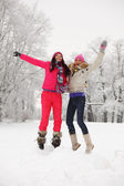 Winter girl jump — Stock Photo