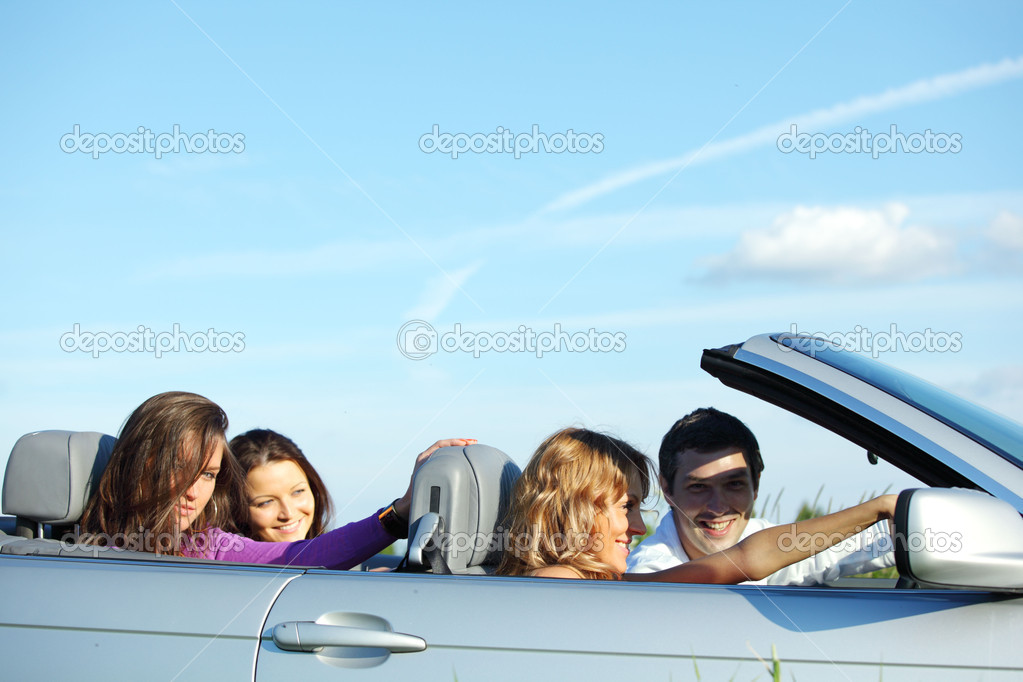 Funey friends in dance car — Stock Photo #6892705