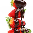Strawberry stack in chocolate - Stock Photo