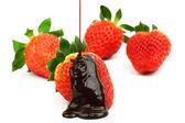 Strawberry in chocolate — Stock Photo