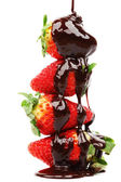 Strawberry stack in chocolate — Stock Photo