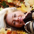Woman portret in autumn leaf — Stock Photo #6932280