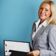 Business woman hold a folder — Stock Photo