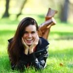 Woman on green grass — Stock Photo #6934063