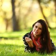Woman on green grass — Stock Photo #6934064