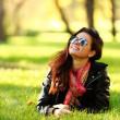 Woman on green grass — Stock Photo #6934065