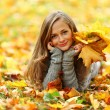 Woman portret in autumn leaf — Stock Photo #6934436