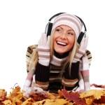 Autumn woman listening music — Stock Photo #6934629
