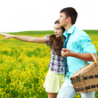 Lovers hug on picnic — Stock Photo #6934638