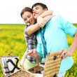 Lovers hug on picnic — Stock Photo #6934643