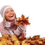 Autumn woman in studio — Stock Photo #6934702