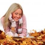 Autumn woman read in studio — Stock Photo #6934779