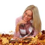 Autumn woman read in studio — Stock Photo #6934780