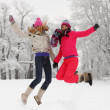 Winter girl jump — Stock Photo