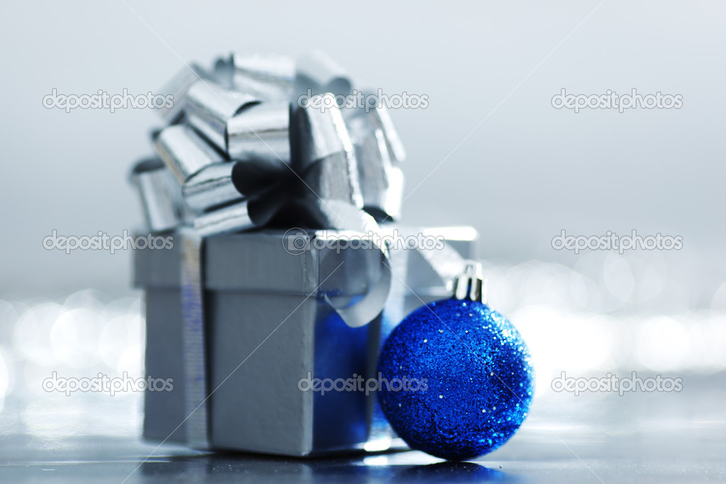 Blue christmas ball macro close up  Stock Photo #6932466