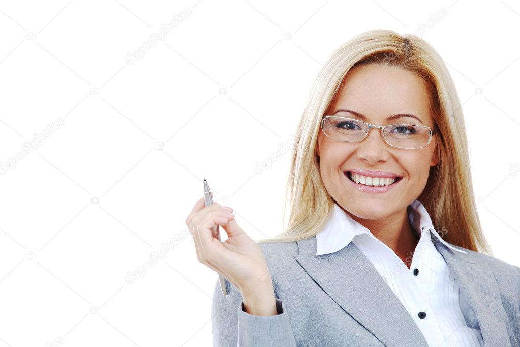 Business woman in glasses on white background pen in hands — Stock Photo #6933320