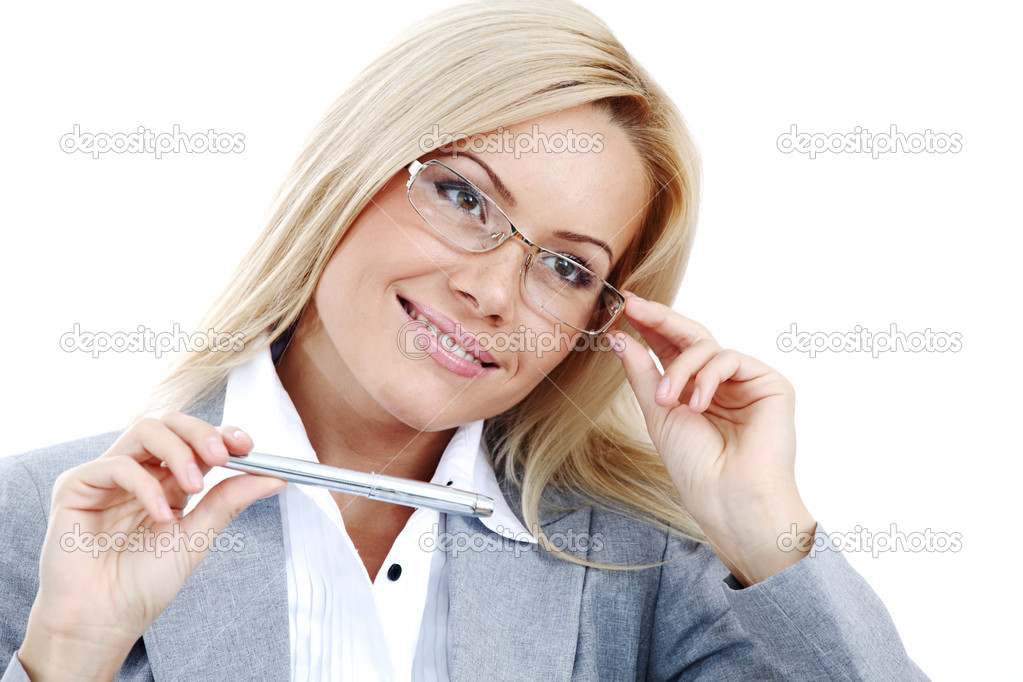 Business woman in glasses on white background pen in hands — Stock Photo #6933326