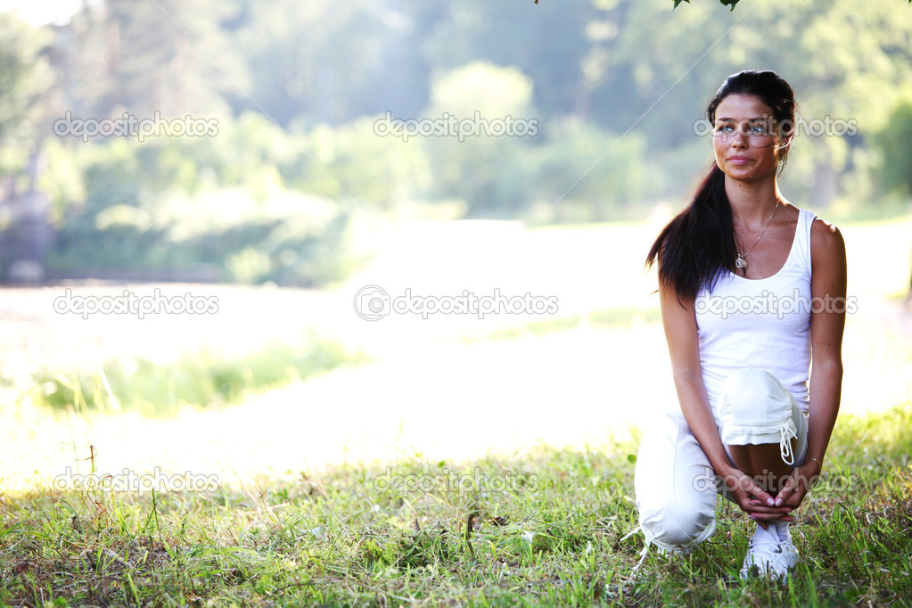 Woman ready to runing in park  Stock Photo #6933922