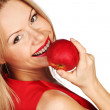 Woman and red apple — Foto de Stock