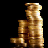 Monedas en negro — Foto de Stock
