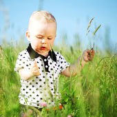 Pojke i gräs — Stockfoto