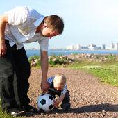 Family soccer — Stock Photo