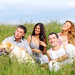 Foto Stock: Friends and dog