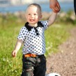 Boy play soccer - Stockfoto