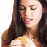 Woman eat burger — Stock Photo