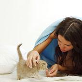 Gatto e donna veglia — Foto Stock