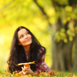 Woman portret in autumn leaf — Stock Photo #7192918