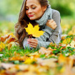 Woman portret in autumn leaf — Stock Photo #7192969