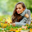 Woman portret in autumn leaf — Stock Photo #7192971