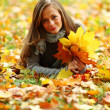 Woman portret in autumn leaf — Stock Photo #7192982