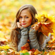 Woman portret in autumn leaf — Stock Photo #7192983