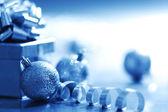 Blauwe kerstkaart — Stockfoto