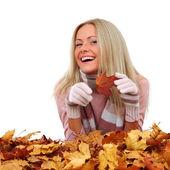 Autumn woman in studio — Stock Photo