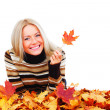 Autumn woman in studio - Stockfoto
