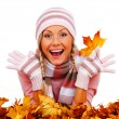 Autumn woman in studio — Stock Photo #7257774