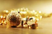 Golden weihnachtskarte — Stockfoto