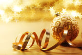 Golden christmas card — Stock Photo