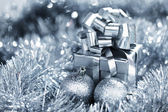 Silver christmas card — Foto de Stock
