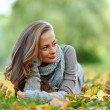 Woman portret in autumn leaf — Stock Photo #7294419