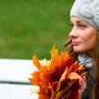 Woman portret in autumn leaf — Stock Photo #7294529