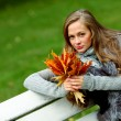 Woman portret in autumn leaf — Stock Photo #7294534