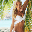 kvinna i bikini under palm — Stockfoto #7332552