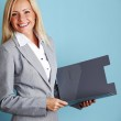 Business woman hold a folder — Stock Photo #7453519