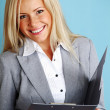 Business woman hold a folder — Stock Photo #7453526